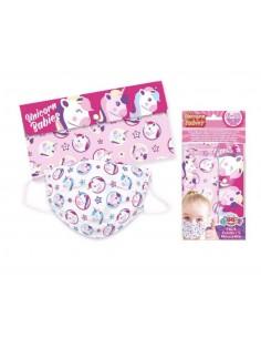 Pack 5 mascarillas quirúrgicas infantiles con funda Unicornio