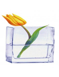 Florero de cristal rectangular 12x6x10cm
