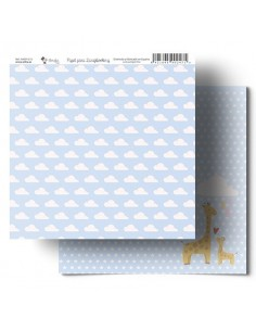 Nubes -girafa azul Amelie Papel Scrapbooking 013